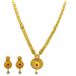 22K Yellow Gold Necklace & Earrings Set W/ Kundan, Emeralds, Rubies & Round Shield Pendants