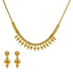 22K Yellow Gold Necklace & Earrings Set W/ Smooth Gold Ball Accents