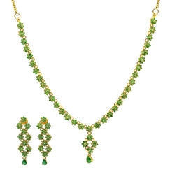 22K Yellow Gold Necklace & Earrings Set W/ Emeralds & Floral Vine Design
