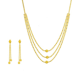 22K Yellow Gold Necklace & Earrings Set W/ Centered Glass Blast Balls