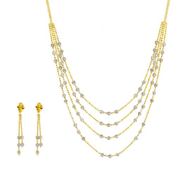 22K Multi Tone Gold Necklace & Earrings Set W/ White Gold Swirl Balls