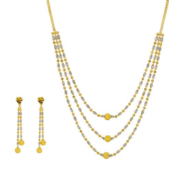 22K Multi Tone Gold Necklace & Earrings Set W/ Swirl Bicone & Ball Beads