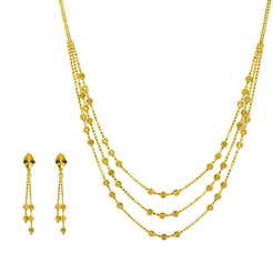 22K Yellow Gold Necklace & Earrings Set W/ Swirl Balls & Faceted Beads