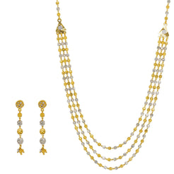 22K Multi Tone Gold Necklace & Earrings Set W/ Speckled Balls & Triangle Side Pendants