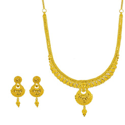 22K Yellow Gold Necklace & Earrings Set W/ Beaded Filigree & Chandbali Pendants