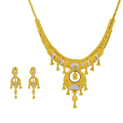 22K Multi Tone Gold Necklace & Earrings Set W/ Chandbali Pendants & Beaded Accents