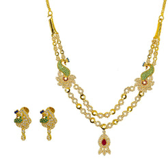 22K Yellow Gold Necklace & Earrings Set W/ Emeralds, Rubies, CZ Gems, Sapphires & Peacock Pendants