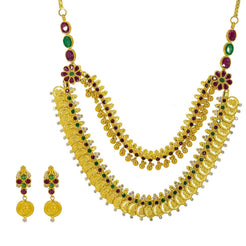 22K Yellow Gold Necklace & Earrings Set W/ Emeralds, Rubies, CZ Gems & Laxmi Kasu