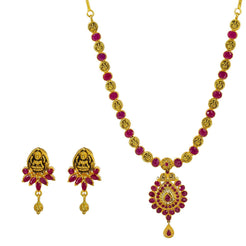 22K Yellow Gold Necklace & Earrings Set W/ Rubies & Antique Finished Laxmi Accents