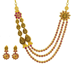 22K Yellow Gold Necklace & Earrings Set W/ Rubies, Asymmetric Laxmi Pendants