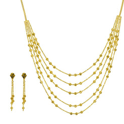 22K Yellow Gold Necklace & Earrings Set W/ Multi Strand Swirl Bead Necklace