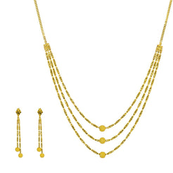 22K Yellow Gold Necklace & Earrings Set W/ Column Beads & Glass Blast Balls