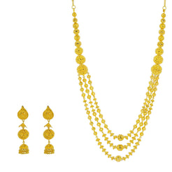 22K Yellow Gold Necklace & Jhumki Drop Earrings Set W/ Gold Balls & Cap Accents