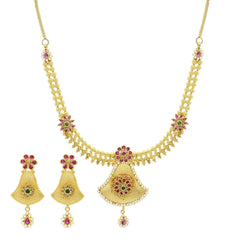 Floral Bells 22K Yellow Gold Necklace & Earrings Set W/ Multi Gems