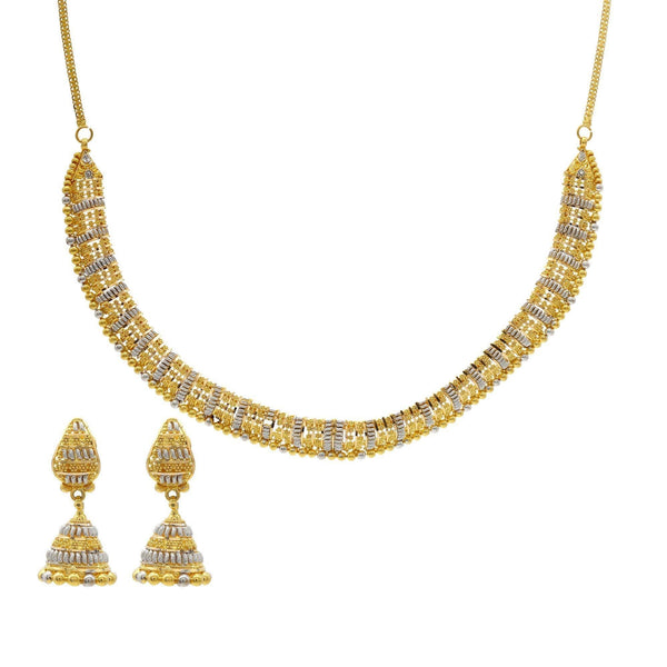 22K Striped Multitone Gold Beaded Necklace W/ Matching Jhumki Earrings | 22K Striped Multitone Gold Beaded Necklace W/ Matching Jhumki Earrings for women. Necklace featur...