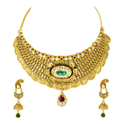22K Antique Gold Finish Necklace & Earrings Set in Floral Pattern W/ Emeralds, Rubies, & Kundan