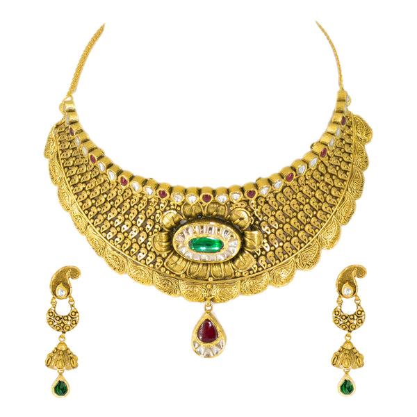 22K Antique Gold Finish Necklace & Earrings Set in Floral Pattern W/ Emeralds, Rubies, & Kundan | 22K Antique Gold Finish Necklace & Earrings Set in Floral Pattern W/ Emeralds, Rubies, & ...