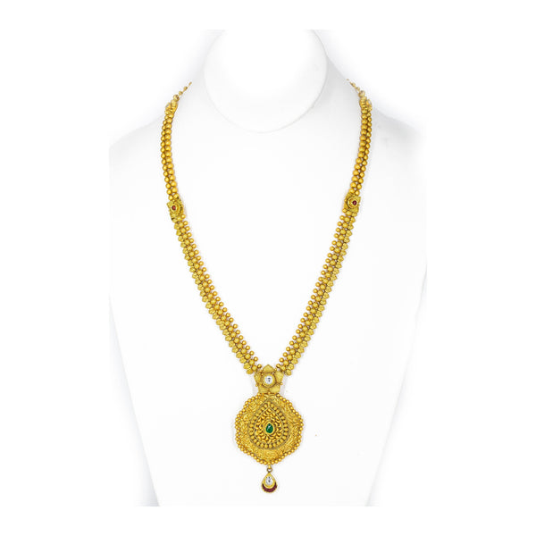 22K Yellow Gold Antique Kundan Necklace and Earrings Set W/ Centered Emerald & Ruby Stones | 22k Gold Antique Long Necklace and Earrings Set for Women. Gold weight is 64.3 grams. Perfect for...