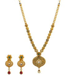 22K Yellow Gold Necklace & Earrings Set W/ Kundan, Emeralds, Rubies & Artisanal Accent Chain
