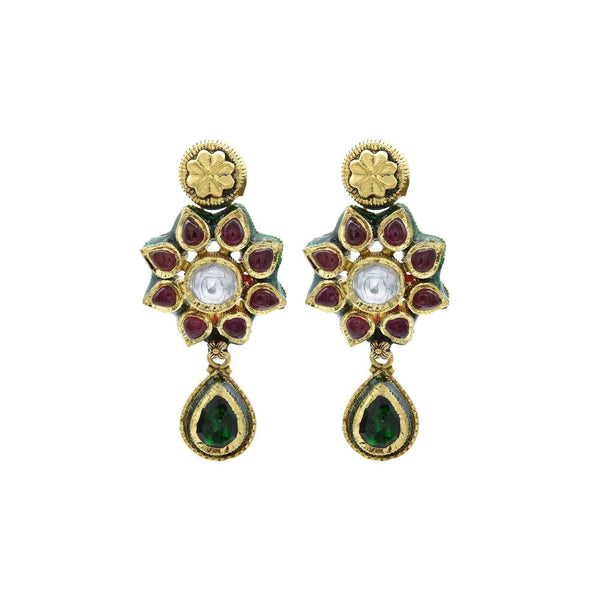 22K Gold Ruby Emerald Kundan Floral Necklace & Earrings Set | 22K Gold Ruby Emerald Kundan Floral Necklace & Earrings Set for women. Necklace and earring s...