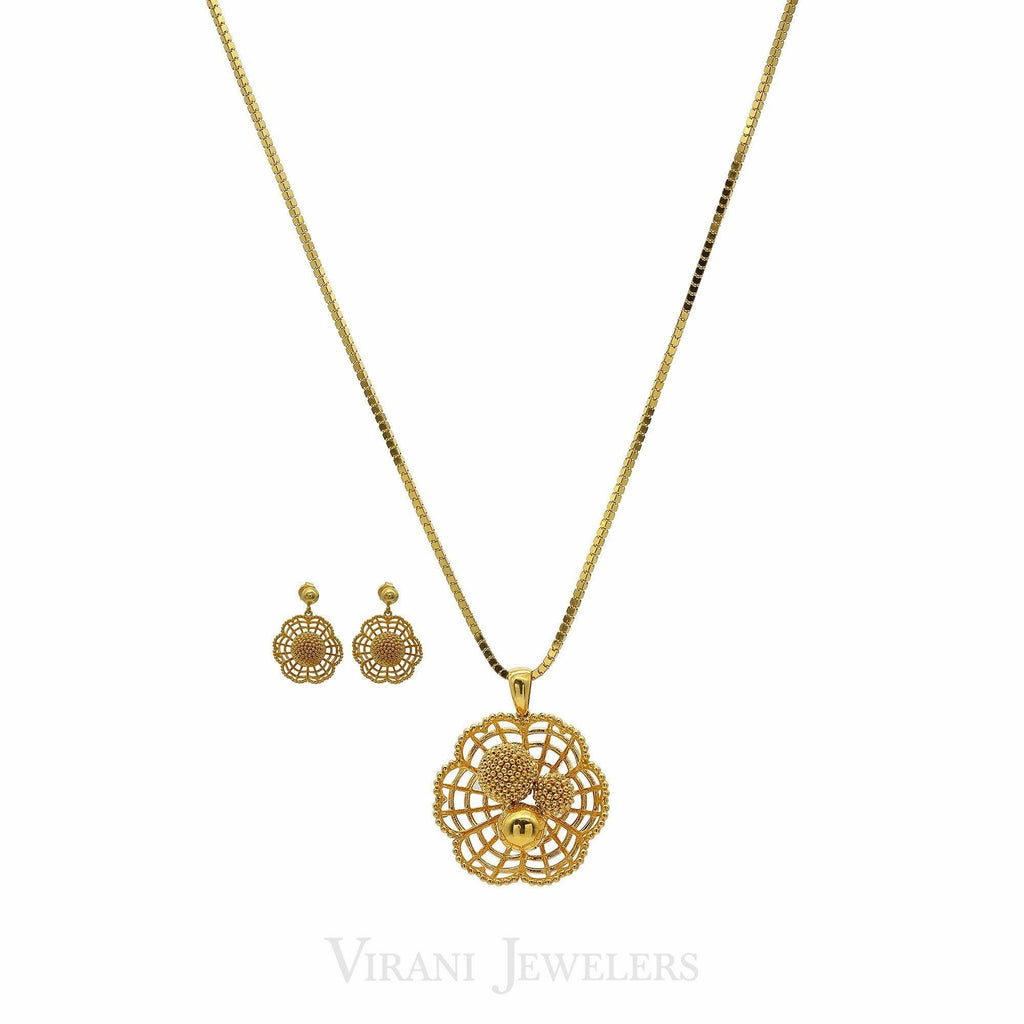 22K Yellow Gold Necklace & Earrings Set W/ Web Pendant & Textured Bead Balls | 22K Yellow Gold Necklace & Earrings Set W/ Web Pendant & Textured Bead Balls for women. B...