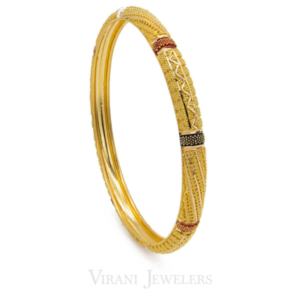 22K Gold Paired Bangles | These finely detailed bangles are crafted in pure 22 karat yellow gold. These adorable style of b...