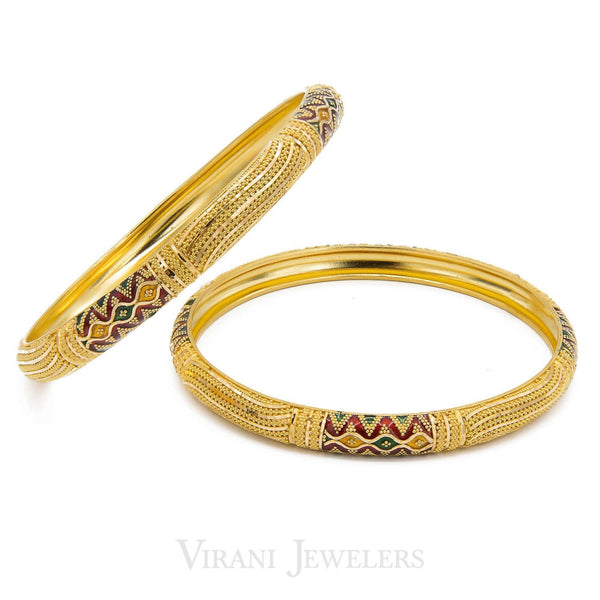 22K Gold Paired Bangles | These precious bangles are crafted in pure 22 karat yellow gold. These glamorous style of bangles...