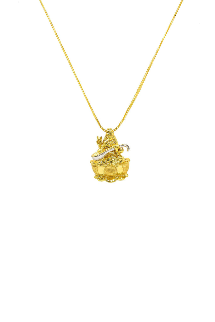 22K Yellow & White Gold Laxmi Pendant | 22K Yellow & White Gold Laxmi Pendant. Everyday wear jewelry. Gold weight 4.3 grams.