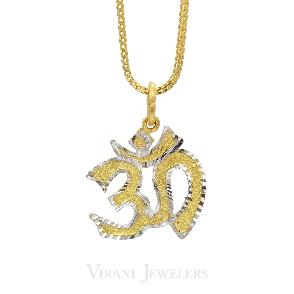 22K Yellow Gold OM Yoga Pendant W/ White Gold Accents | 22K Gold OM Pendant with White Gold Accents. Pendant weight is 3.2 grams. The small pendant can b...
