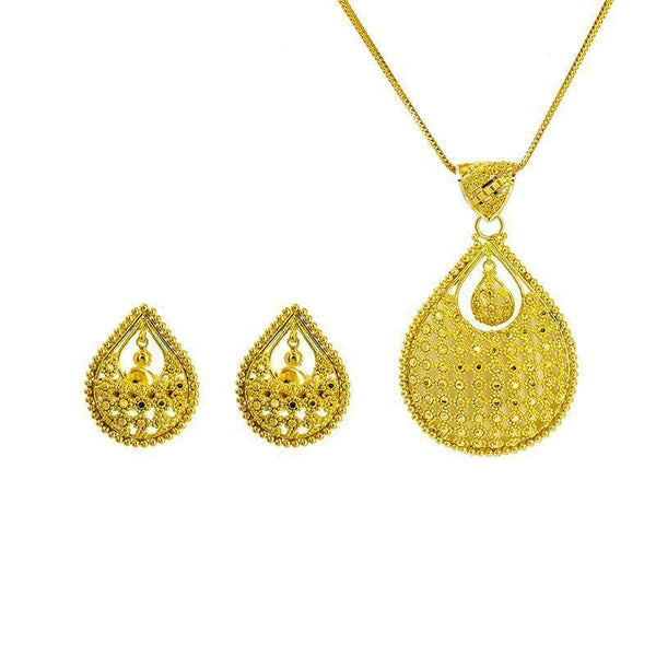 22K Gold Pendant and Earrings Set |