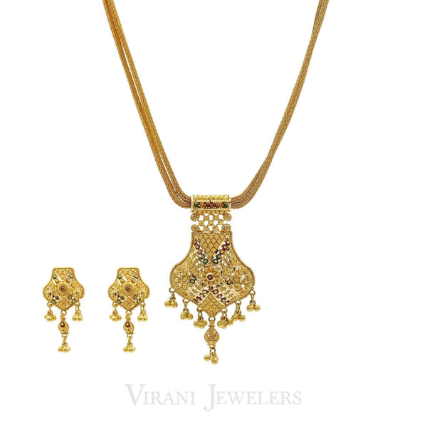 22K Yellow Gold Ornate Pattern Pendant & Earrings Set | 22K Yellow Gold Ornate Pattern Pendant & Earrings Set for women. Necklace features a 16