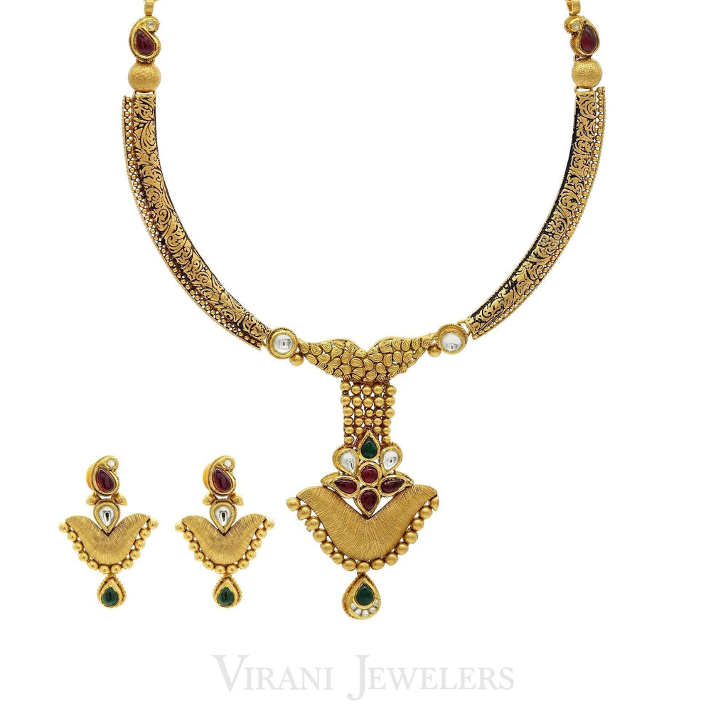 22K Antique Finish Gold Statement Necklace & Earrings Set | 22K Antique Finish Gold Statement Necklace & Earrings Set for women. Necklace features an ext...