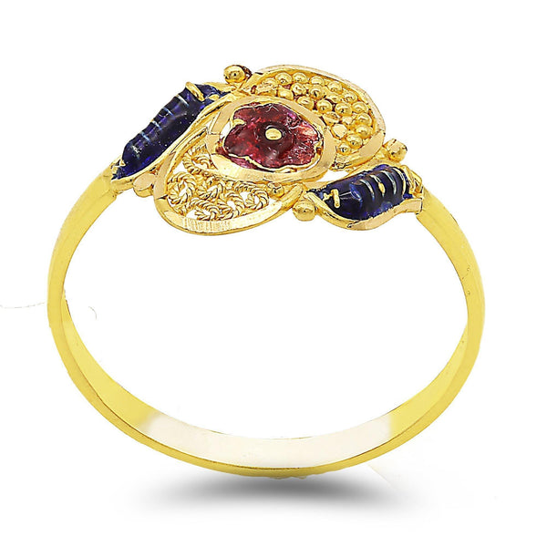 22K Yellow Gold Handcrafted Fluer Enamel Ring | 22K Yellow Gold Handcrafted Fluer Enamel Ring. Hand-carved ring features inrticate filigree with ...