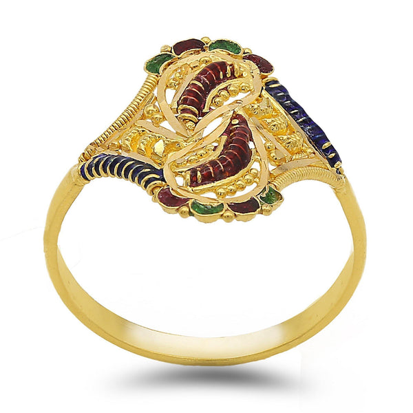 22K Yellow Gold Hand Carved Paisley Enamel Ring | 22K Yellow Gold Hand Carved Paisley Enamel Ring. Ring features intricate handcrafted beaded and p...