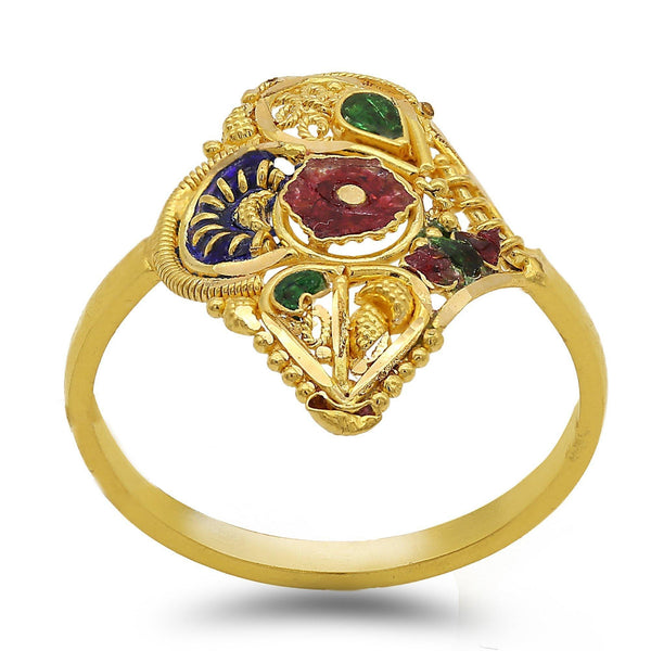 22K Gold Hand Carved Enamel Ring W/ Beaded Filigree | 22K Gold Hand Carved Enamel Ring W/ Beaded Filigree. Statement ring features beautiful hand craft...