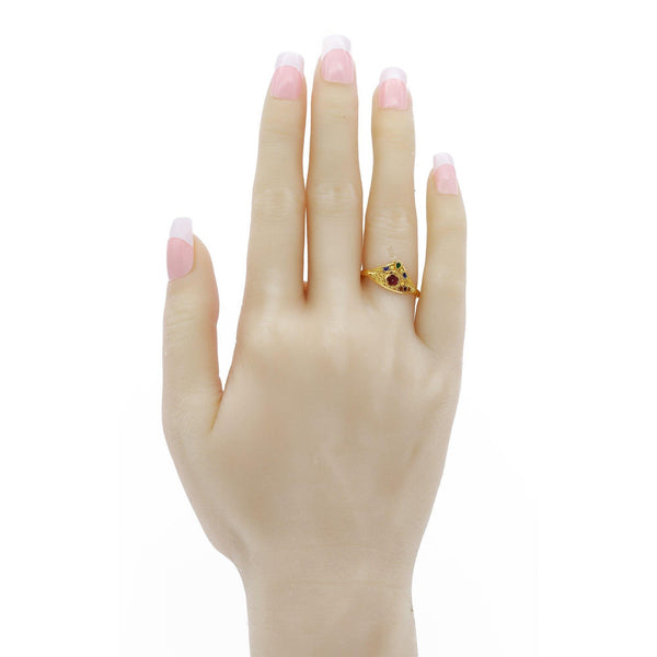 22K Gold Triangle Enamel Ring W/ Floral Accents | 22K Gold Triangle Enamel Ring W/ Floral Accents. Ring features a triangle frame with hand carved ...