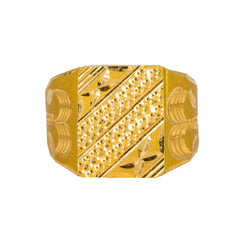 22K Yellow Gold Men's Signet Ring W/ Artisanal Etched Designs