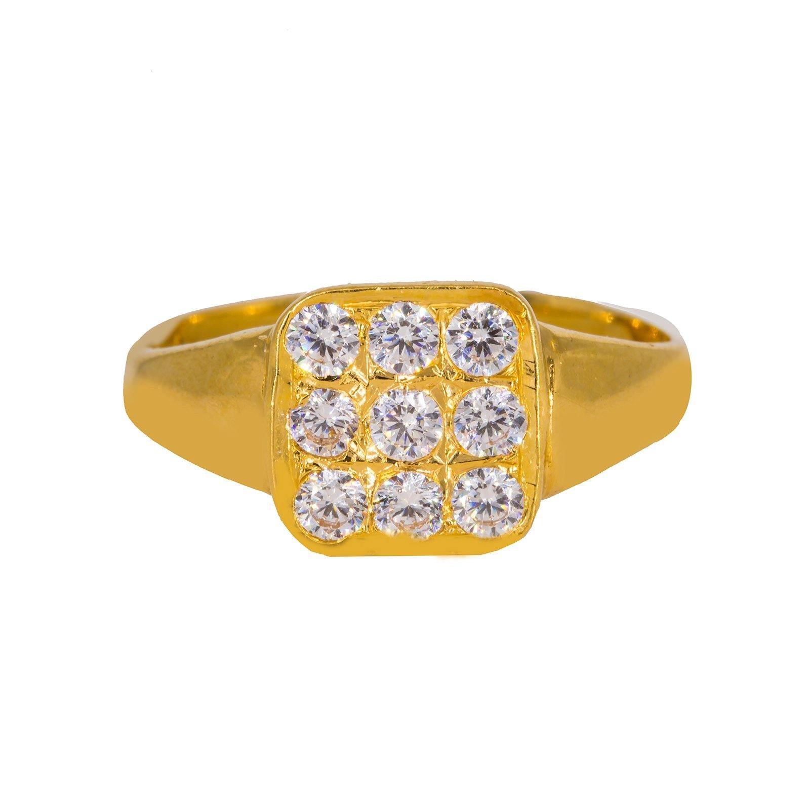 22K Yellow Gold Men's Ring W/ Nine Cubic Zirconia & Smooth Band
