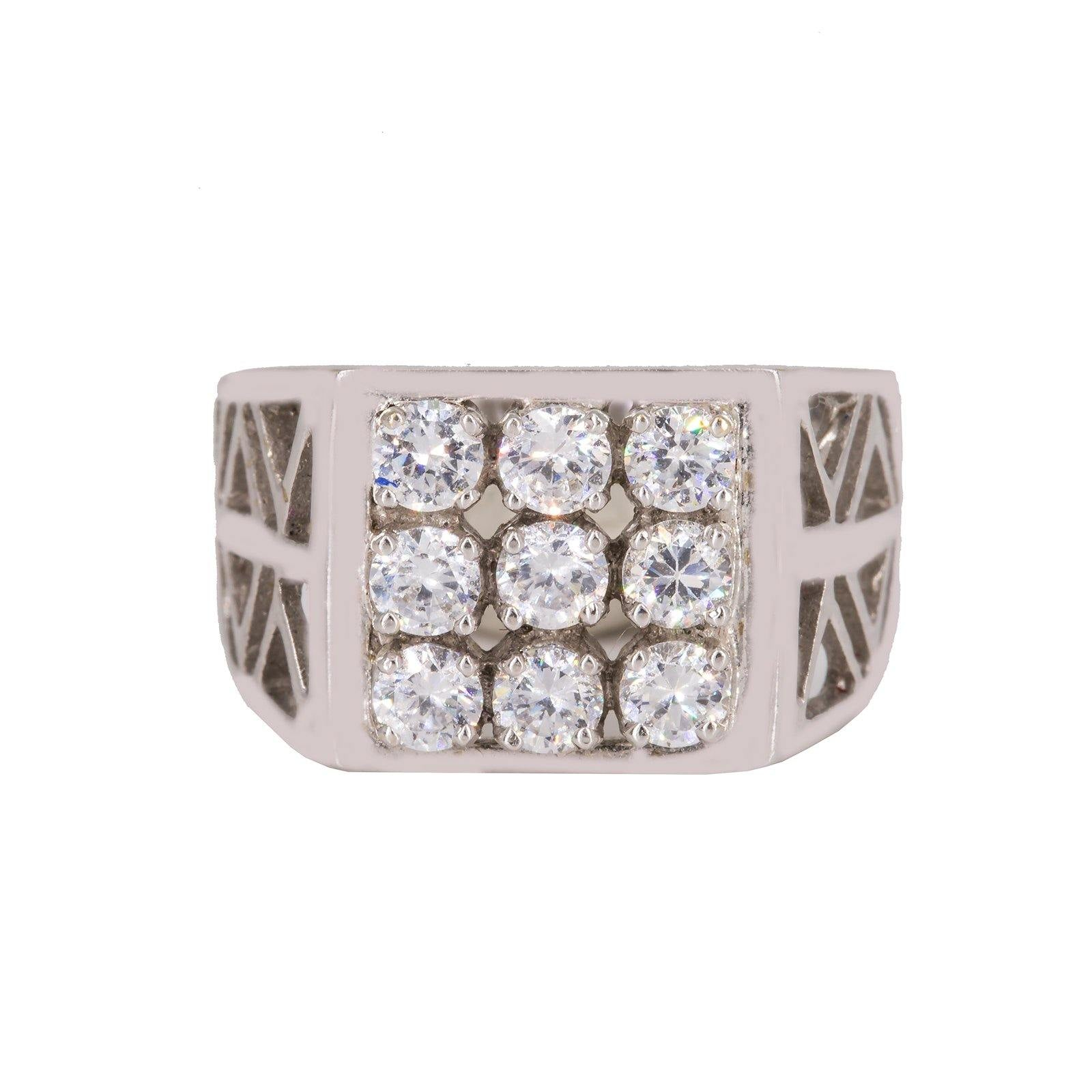 22K White Gold Men's Ring W/ Cubic Zirconia & Cut Out Band
