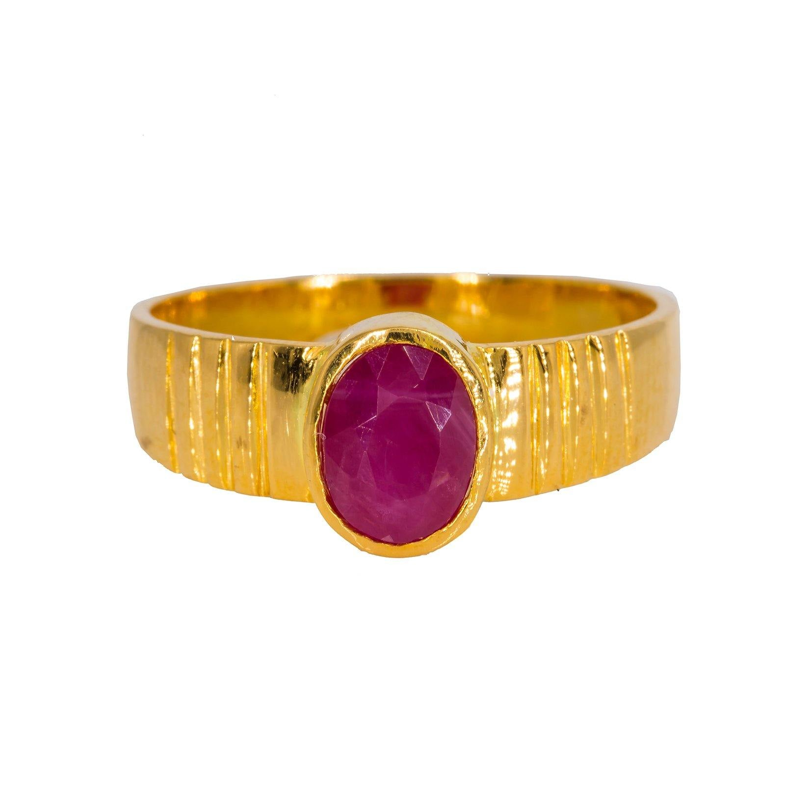 22K Yellow Gold Men's Ring W/ Ruby & Semi-Lined Band