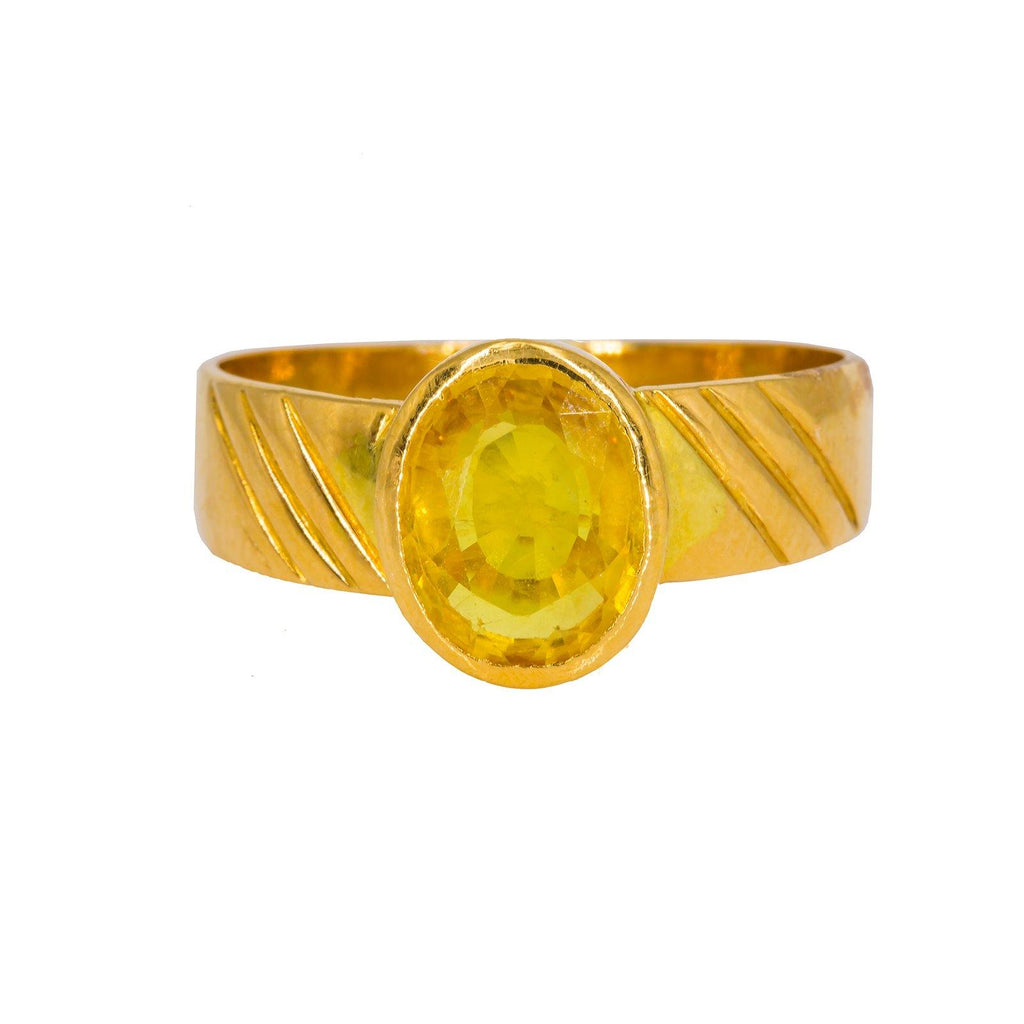 22K Yellow Gold Men's Ring W/ Oval Yellow Sapphire |  22K Yellow Gold Men's Ring W/ Oval Yellow Sapphire. This exceptional 22K yellow gold men's ring ...