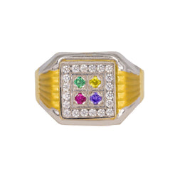 22K Multi Tone Gold Men's Signet Ring W/ Ruby, Emerald, Sapphire & CZ Gems