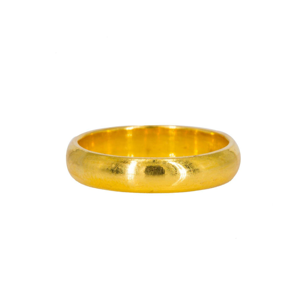 22K Yellow Gold Ring W/ Thick Round Band |  22K Yellow Gold Ring W/ Thick Round Band for women. This classic 22K yellow gold ring features a...