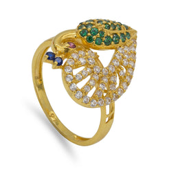 22K Yellow Gold Swarovski Pavé Peacock Ring