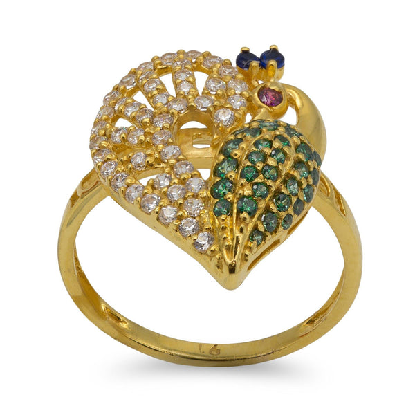 22K Yellow Gold Swarovski Pavé Peacock Ring | 22K Yellow Gold Swarovski Pavé Peacock Ring for women. Gorgeous gold ring featuring an open patte...