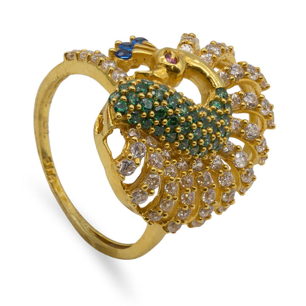 22k Gold CZ Peacock Ring