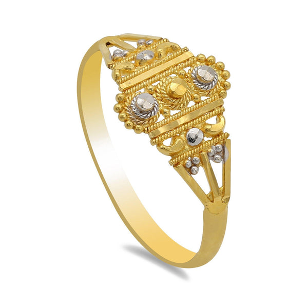 22K Two-Tone Gold Ring W/Bead and Rope Filigree | 22K Two-Tone Gold Ring W/Bead and Rope Filigree for women. Ring features handcrafted filigree des...