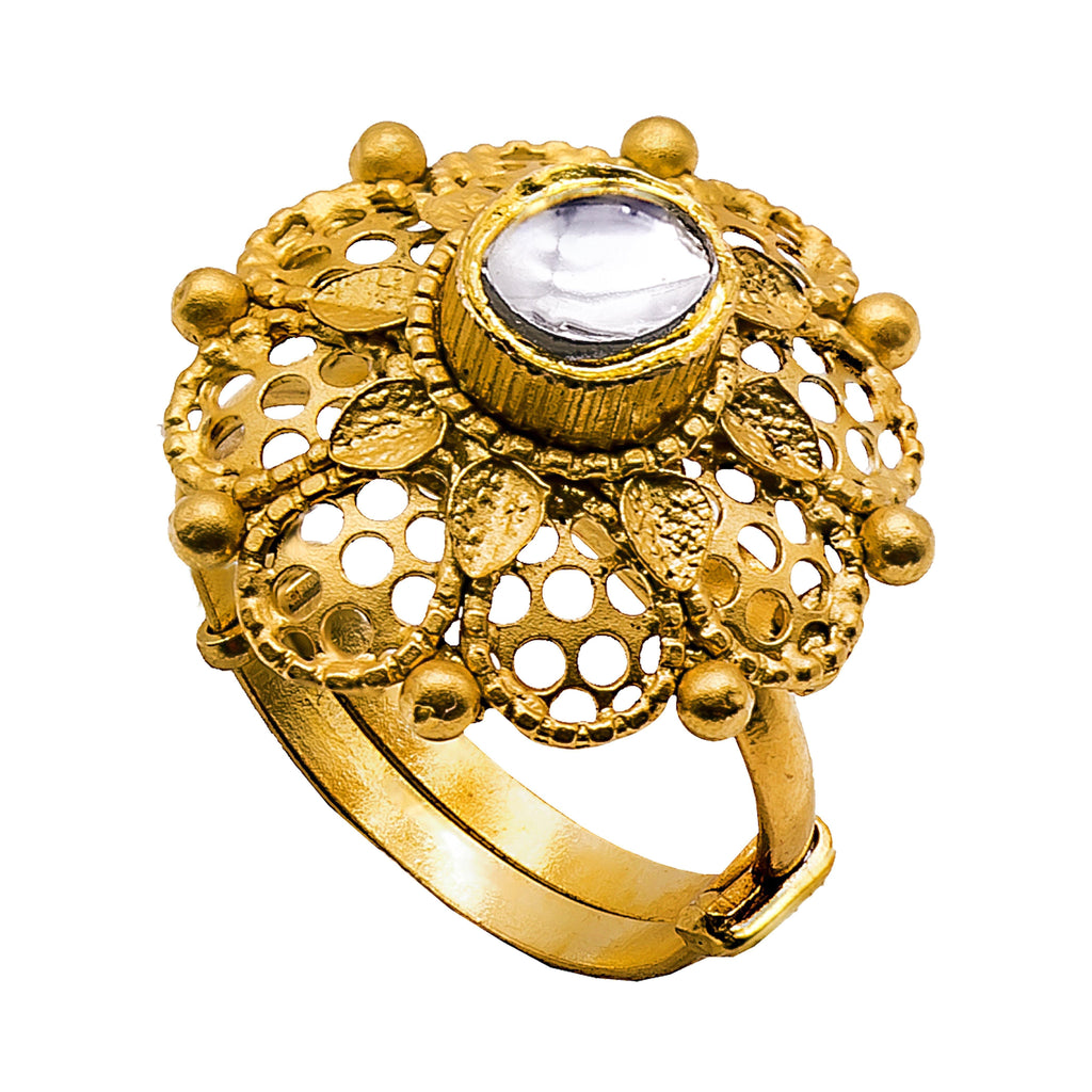 22K Antique Gold Cocktail Flower Ring W/ Kundan & Adjustable Band |  22K Antique Gold Cocktail Flower Ring W/ Kundan & Adjustable Band for women. Unique style ad...