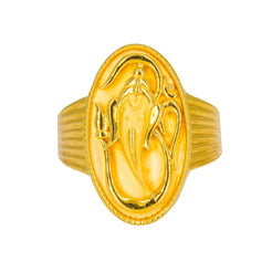 22K Yellow Gold Men's Ring W/ Ganesh Signet & Ribbed Shank