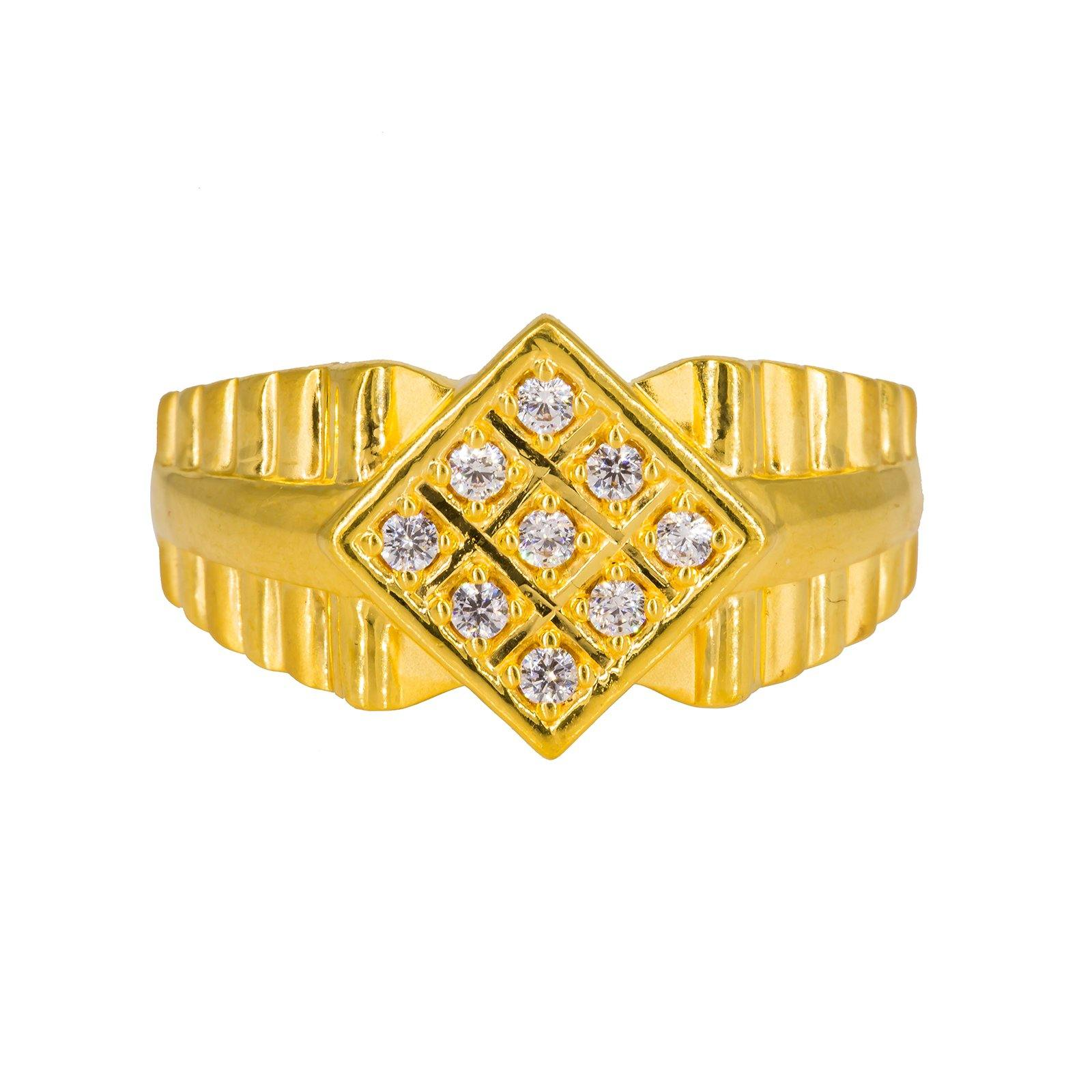 22K Yellow Gold Men's Ring W/ CZ Gems & Belted Ribbed Shank